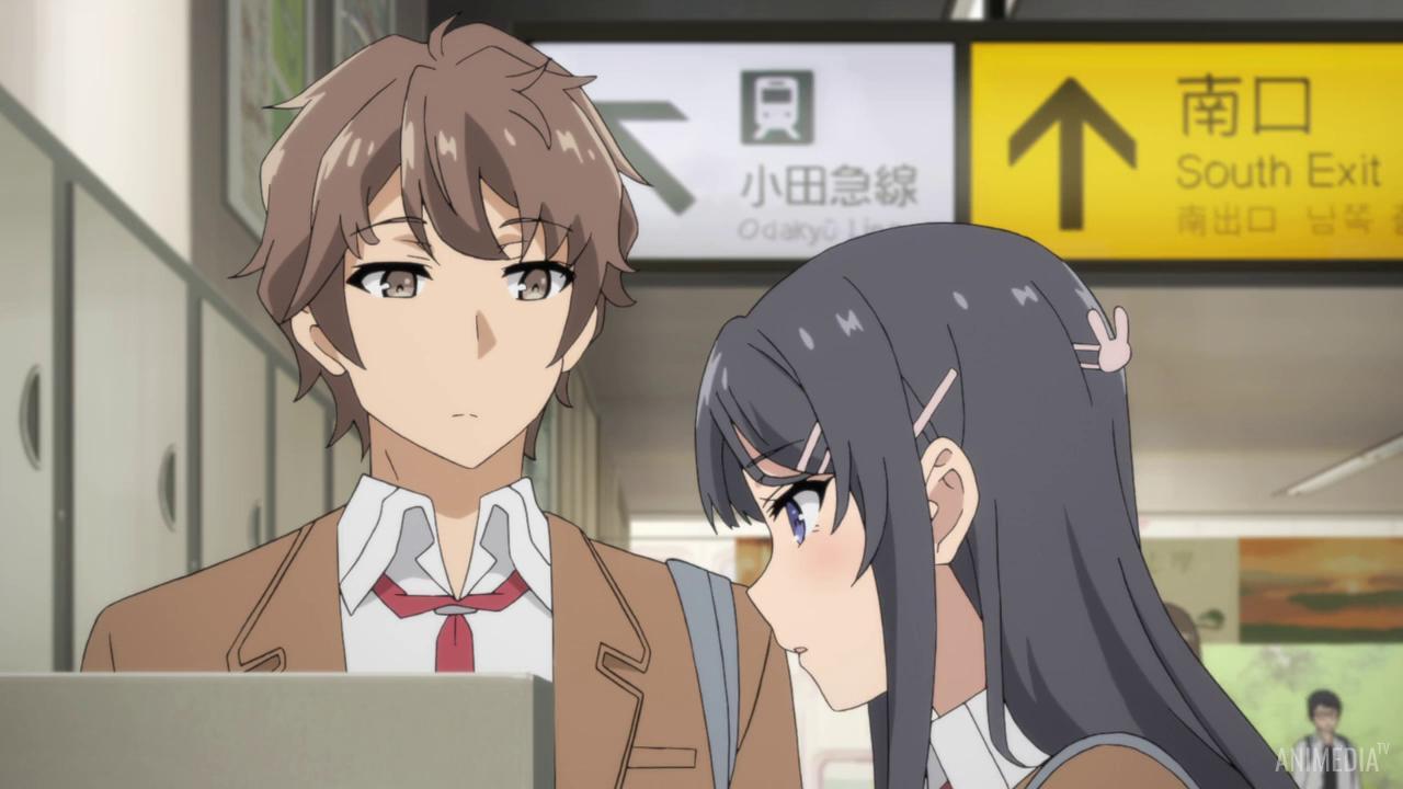 Скриншот *Этот глупый свин не понимает мечту девочки-зайки / Seishun Buta Yarou wa Bunny Girl Senpai no Yume wo Minai [Сезон 1, Серия 1-12 из 13] 2018*
